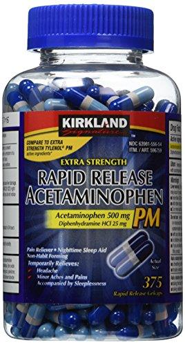 Kirkland Signature Extra Strength Rapid Release Acetaminophen PM 500mg - 375 Gelcaps
