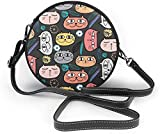 BAODANLA Bolso redondo mujer Cute Cat and Floral Pattern Background Women Soft Leather Round Shoulder Bag Zipper Circle Purses Sling Bag