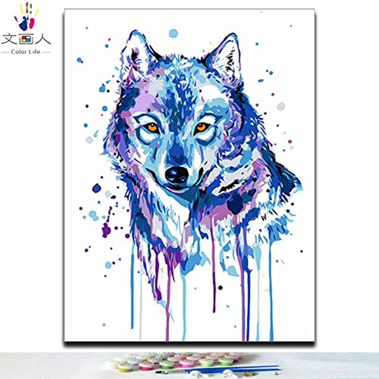 Envío 100% gratuito KYKDY Diy para Colorar pinta cuadros por por por números gato perro rubbit cerdo tigre león lobo pingüino panda y loro animales pinturas por números, 5473 acuarela lobo, 40x50 con marco  apresurado a ver