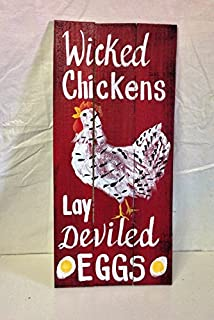 LOUISF Wicked Chickens Lay Deviled Eggs Sign Wood Pallet Rooster Art Chicken Coop Decor