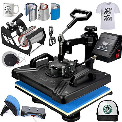MYSUB 8 in 1 Heat Press Machine Digital Combo Heat Transfer Sublimation Print Machine T-Shirts/Mug/Plate/Cap/Cup Swing Away Heat Transfer Machine (8 in 1 Swing Away)