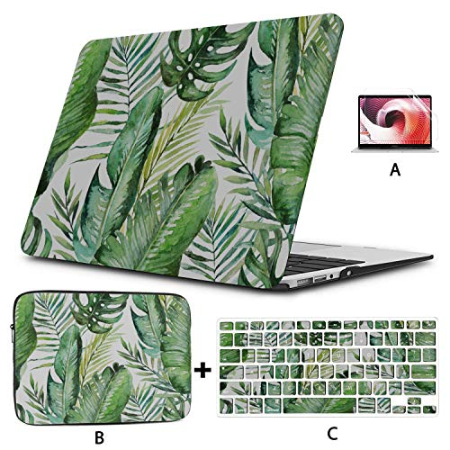 Mackbook Pro Case Tropical Palm Leaves Jungle Leaves Seamless Laptop Hard Case Hard Shell Mac Air 11'/13' Pro 13'/15'/16' with Notebook Sleeve Bag for MacBook 2008-2020 Version