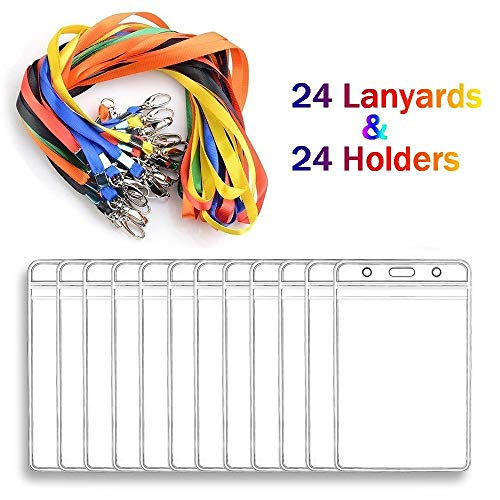 Lanyard With ID Badge Holders Vertical Name Badge Card Holders Bulk 24 Sets for Kids and Adults (Vertical)