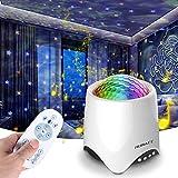 Luces de Proyector de Estrellas, Proyector Luces 14 Modos Proyector LED Color Reproductor de Música, con Bluetooth/Temporizador/Remoto