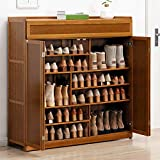Gnpolo Shoe Storage Cabinet Entryway with Doors Standing Shoe Rack Organizer Pantry Cabinets (7-Tier 4 Doors)