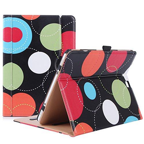 ProHülle Schutzhülle für Galaxy Tab S2 9.7- Leder Stand Folio Tasche für Galaxy Tab S2 Tablette (9,7 Zoll, SM-T810 T815 T813) -Kreise