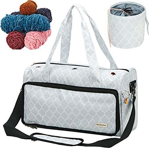 NICOGENA Yarn Storage Bag with 4 Stitch Markers, Portable Knitting Bag for Skeins, Crochet Hooks and Needles, 3 Oversized Grommets, Lantern White