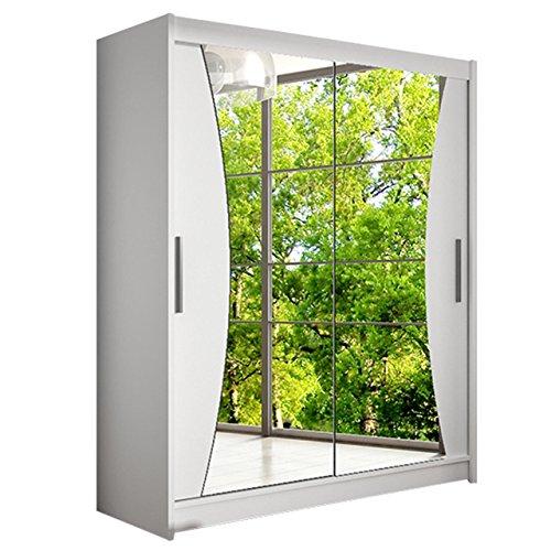 Modernes Schwebetürenschrank Westa IX Kleiderschrank mit Spiegel, Schlafzimmerschrank, Schiebetürenschrank, Garderobe, Schlafzimmer (Weiß)