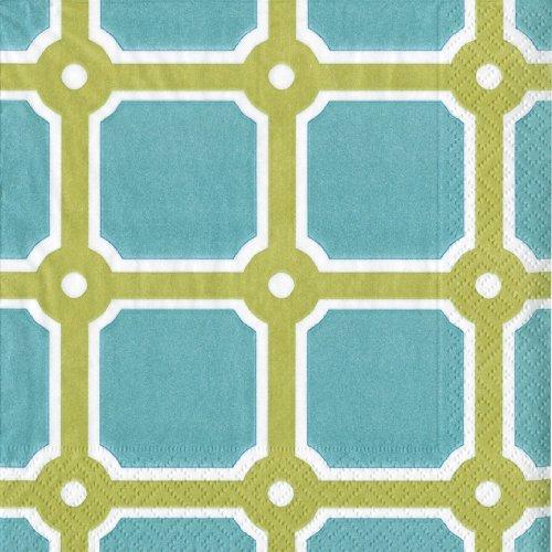 Caspari Serviettes de Table Motif Soho Bleu