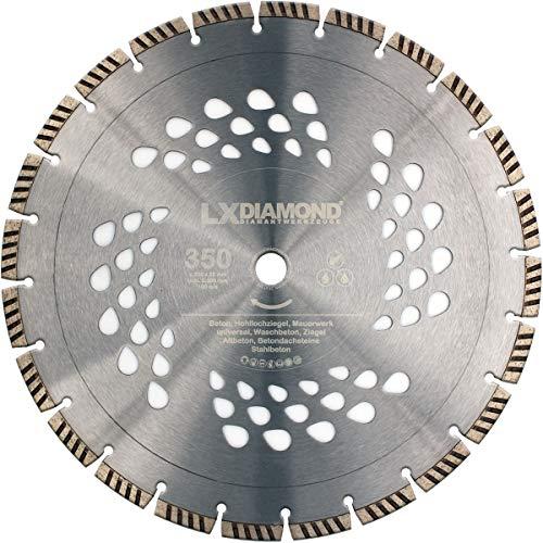LXDIAMOND Diamant-Trennscheibe 350mm x 20,0mm Turbo Premium Diamantscheibe für Beton Stein Universal Waschbeton Diamanttrennschiebe 350 mm