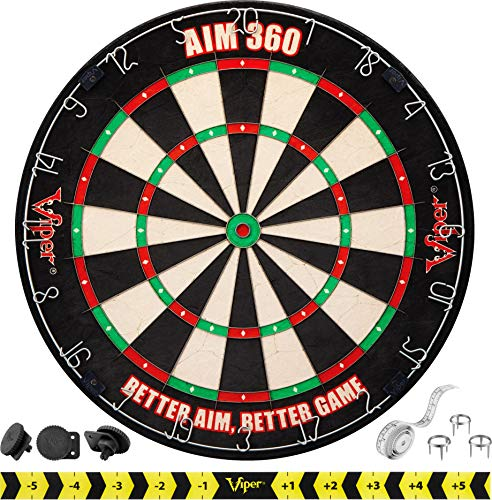 Viper AIM 360 Tournament Bristle Steel Tip Dartboard Set with Staple-Free Razor Thin Metal Spider Wire, Self-Healing Premium-Grade Sisal, Aiming Marks, Movable Target Circles for Focused Training