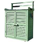 Cobertizo para herramientas de jardín de madera Armario de almacenamiento al aire libre con puertas dobles,Armario de herramientas jardín de persianas,Con gancho Cobertizo de almacenamiento de jardí
