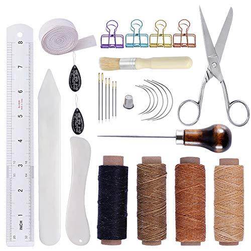 製本 ツール キット 蝋引き糸 ロウ引き糸 紐 ワックスコード 製本針 千枚通し 革縫い針 手縫い針 製本工芸 革細工 工具 レザークラフト 工具セット 初心者 練習