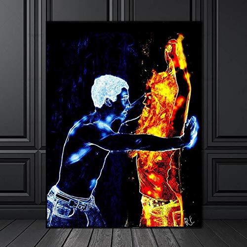 yaoxingfu Arte Moderno Pintura Abstracta Fuego Agua Amor Pintura