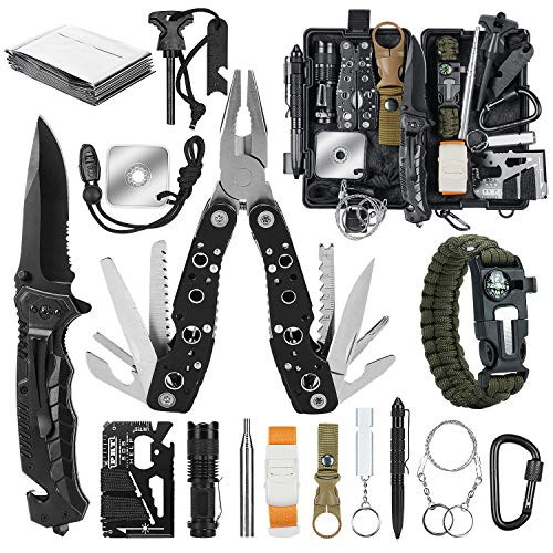 Gifts for Men Dad, Survival Gear and Equipment 17 in 1, Emergency Survival Kit Fishing Hunting...