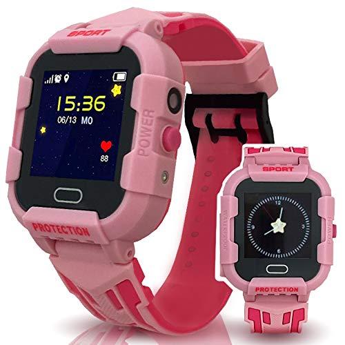 Calmean - Reloj inteligente digital deportivo para niños con GPS, WiFi y LBS rastreador con aplicación para iOS y Android, resistente al agua IP67, con cronómetro y cámara fotográfica (rosa)