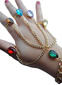 Blingsoul Infinity Gauntlet Finger Bracelet - Multi-color Stones War Hand Slave Chain Jewelry for Women