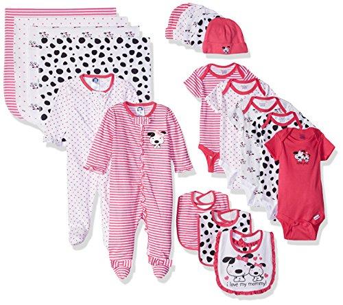Gerber Baby Girls' 19 Piece Baby Essentials Gift Set, Dalmatian, Newborn