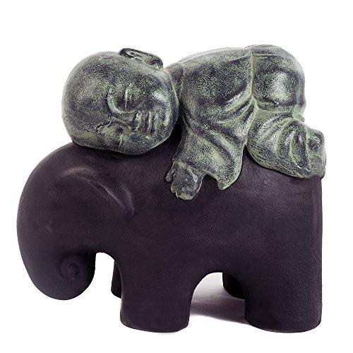 Shaolin Monk on Elephant Buddha Zen Garden Statues Good Luck Elephant - Rustic Green