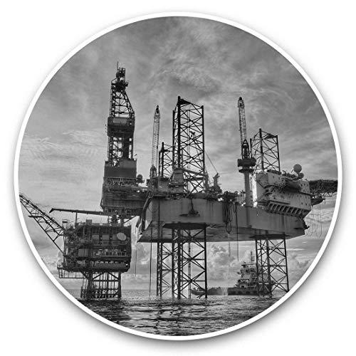 Impresionantes pegatinas de vinilo (juego de 2) 30 cm BW – plataforma de aceite de gas offshore calcomanías divertidas para portátiles, tabletas, equipaje, reserva de chatarras, neveras, regalo genial #36588