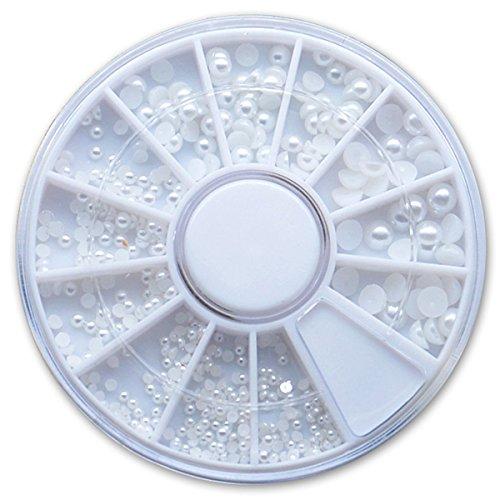 Halbperlen Rondell Weiß in 4 Größen - für Nailart Fingernägel Modellage Strass