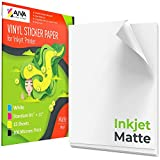 Printable Vinyl Sticker Paper for Inkjet Printer - Matte White - 15 Self-Adhesive Sheets - Waterproof Decal Paper - Standard Letter Size 8.5'x11'