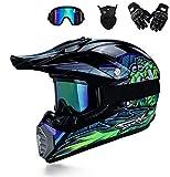 BDUCK Casco de motocross con gafas, casco de cross, MTB, casco infantil, casco de cross Fullface, casco de descenso, unisex,casco de motocross (S (54cm-55cm))