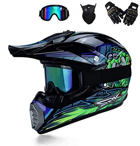 BDUCK Casco de motocross con gafas, casco de cross, MTB, casco infantil,...
