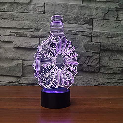 3D Illusie lamp Nacht Licht Whiskey Fles kidsoptical illusionchange Verlichting lamp Verjaardag Kerstmis Verbazingwekkende Geschenken voor Baby Kids Meisjes USB 7 Kleuren (Afstandsbediening)