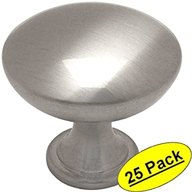 Cosmas 5305SN Satin Nickel Traditional Round Solid Cabinet Hardware Knob - 1-1/4  Diameter - 25 Pack