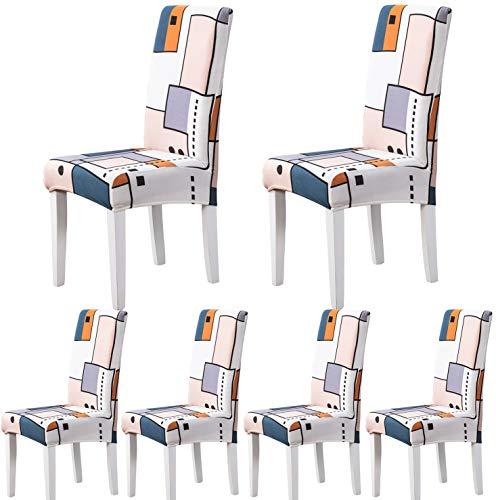 ARNTY Stuhlhussen 4er 6er Set,Stretch Stuhl Bezug Esszimmer,Universal Moderne Elastische Hussen für Stühle für Esszimmer Party Hotel Restaurant Deko (Geometrie, 6 Stück)