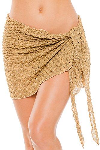Elif Women's Crochets Metallic Crochet Short Cover Pareo Swim Cover Up Gold One