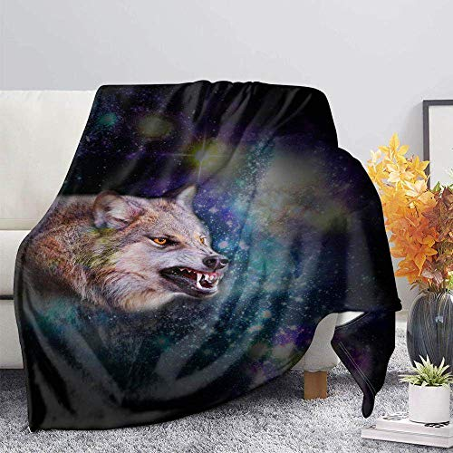 ZGZZD Sofa Throw Blankets,Winter Soft Warm 3D Print Sofa Throw Blanket Novelly Chic Black Blue Starry Wolf Animal Printed King Size Fluffy Blanket For Bed Couch Camping Travel,110X140Cm