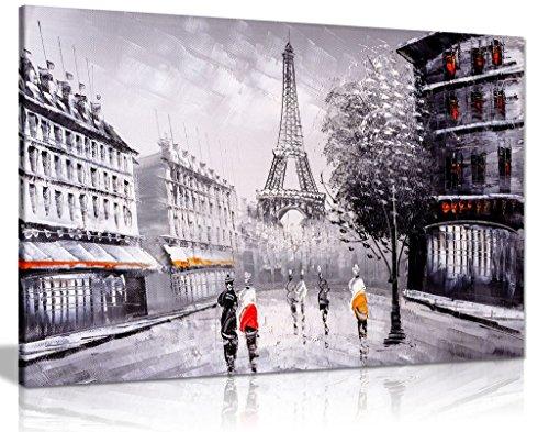 Impression sur toile murale Paysage de Paris Noir Blanc Rouge 30 x 20 cm