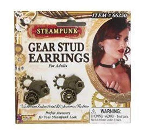 Forum Novelties Steampunk Gear Stud Earrings Adult Costume Jewelry