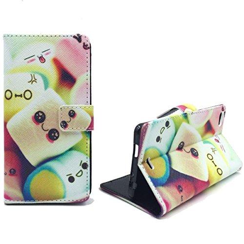 König Design Handyhülle Kompatibel mit Wiko Highway Pure Handytasche Schutzhülle Tasche Flip Hülle mit Kreditkartenfächern - Marshmallows