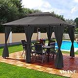 Swing & Harmonie Pavillon 3x4m Minzo - inklusive Seitenwände Gartenpavillon Partyzelt Gartenzelt (ohne Moskitonetz, anthrazit)