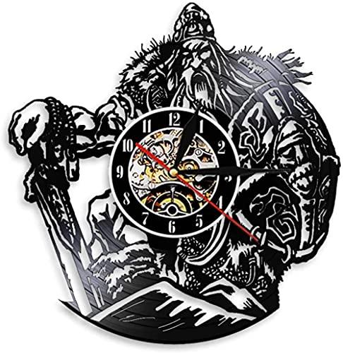 Viking Warrior led Disco de Vinilo Reloj de Pared Vinilo cadmio Reloj de Cuarzo Amigos decoración Creativa del hogar