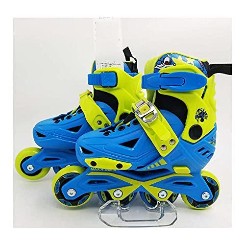 MRFYD Einstellbare Inline Skates für Kinder für Kinder Erwachsene Rollschuhe für Jungen Mädchen Im Freien Und Indoor Primärclub Training Mit Schloss Rad Rollen Klingen Blau_S (28-31)