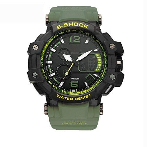 MIAO 50 Meter wasserdichte Multifunktionssport Herren LED elektronische Uhr mit Wochenanzeige/Alarm/Kalender/Chronograph/Monatsanzeige, Army Green