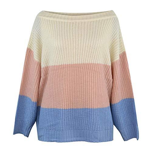 BESDAY Moda de las mujeres casual murciélago manga larga hombros fuera causal suelto suéter suéter de punto suéter