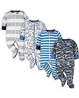 Onesies Baby Boys' 4-Pack Sleep 'N Plays Footies, Blue Dino, 3-6 Months