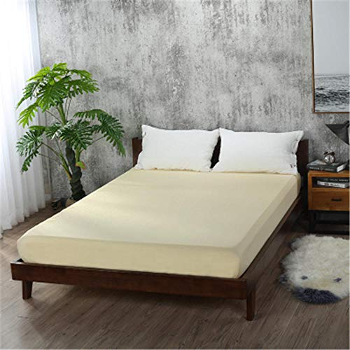 Nuoxuan Breathable Mattress Protector,Brushed solid color bed sheets, non-slip protective cover apartment bedroom double bed-yellow_200*220cm