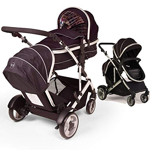 Duel combo Double pushchair with carrycot pram includes 2 FREE footmuffs Newborn & toddler, tandem travel system buggy convertible carrycot to seat unit and toddler/child seat unit, Midnight Black by Kids Kargo