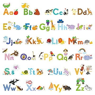 Decowall My First Alphabet Animals Kids Wall Decals Wall Stickers Peel and Stick Removable Wall Decals for Kids Nursery Bedroom Living Room