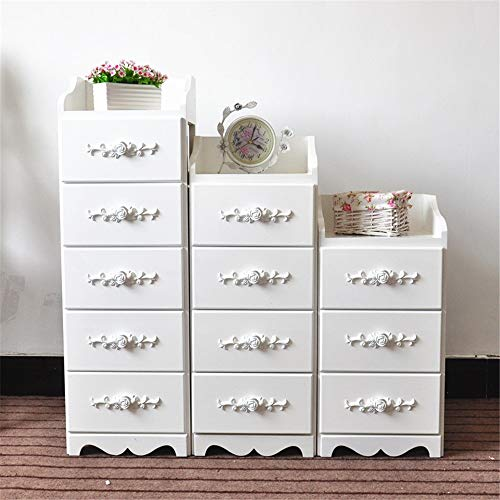 CHENSHJI Dresser Storage Tower Classic Curving Flower Pattern Sides Night Stand Storage Bedside Table Nightstand White (Color : White, Size : Three floors)