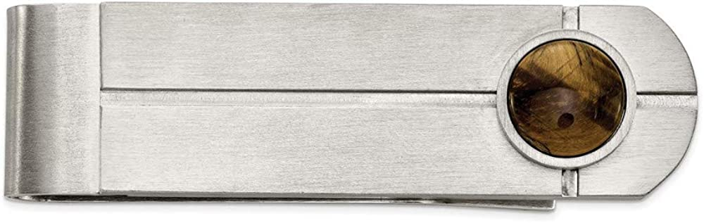 Solid Stainless Steel Men's Brushed with Tiger's Eye Slim Business Credit Card Holder Money Clip - 64mm x 17mm