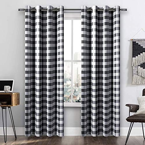 DWCN Buffalo Plaid Blackout Curtains for Bedroom- Thermal Insulated Privacy Protection Grommet Panels Checkered Window Curtains for Living Room, 52 x 84 Inches, Set of 2, Black and White