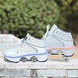 Schuhe Mit Rollen Mädchen Frauen Rollschuhe Led Sportschuhe Quad Rollschuhe Multifunktionale Verformungsschuhe,White Silver-39