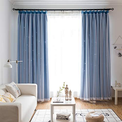 Nileco Vorhänge Drapieren Doppelschicht für Wohnzimmer,Verdunklungs Ösen Vorhänge Segeln Vorhänge Mit Haken,Gardinen Blickdicht Hochflor Nordischer Stil-D W200cm X L270cm
